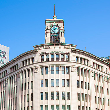 Luxury specialty store and watch boutique. A symbol of Ginza – the Wako luxury store.