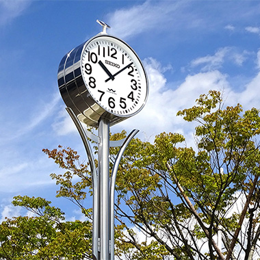 System clocks for use in parks, train stations, airports, and other public facilities and town locations